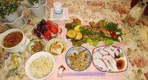 せとうちタコ・筍ご飯と煮物・野菜の牛肉巻