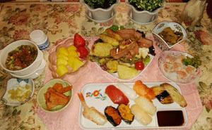 晩御飯 母からお寿司 天婦羅 筍メンマ&若竹煮