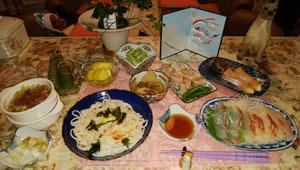 半田麺 紅鮭 筍煮物 天然鯛刺身 空豆