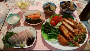 0603 チキンカツ 薩摩芋煮 鯛刺身 ぬか漬け復活