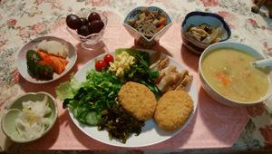 0606 晩御飯 シチュー・大平&煮込み・コロッケ・スモーク鶏