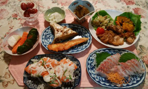 晩御飯 お寿司刺身母差入れあり