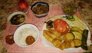 180823 天ぷら・肉ジャガ・酢の物