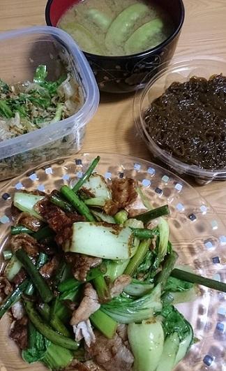 肉野菜炒め、きぬさや味噌汁、もずく