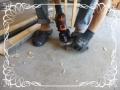 電鋸で土台の穴作り