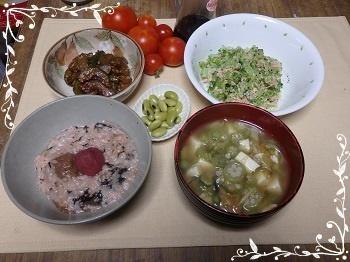 2018 8 5 梅粥朝食 茗荷とオクラ味噌汁(木綿豆腐入り)