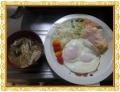榎茸と茄子の味噌汁目玉焼き 朝