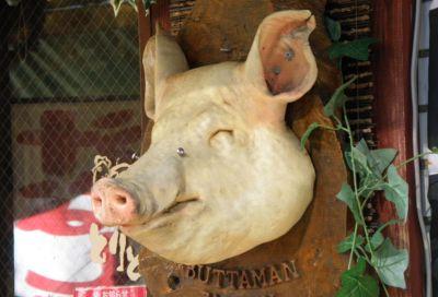 豚の顔のオブジェ
