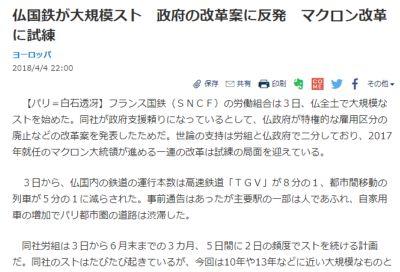 フランスの鉄道デモを報じる「日経新聞」