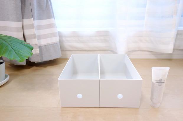 無印・ポリプロピレンファイルボックス・スタンダードワイド・ホワイトグレー・1/2 約幅15×奥行32×高さ12cm②