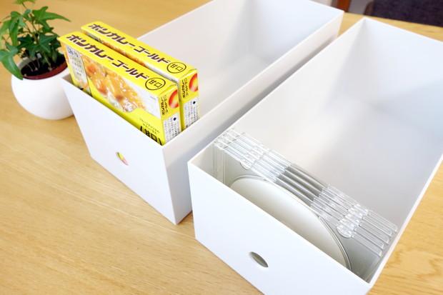 無印・ポリプロピレンファイルボックス・スタンダードワイド・ホワイトグレー・1/2 約幅15×奥行32×高さ12cm③
