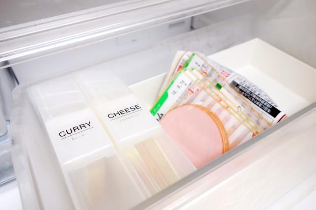 ダイソー・はがき整理ケース・冷蔵庫・チルド室・チーズ収納①
