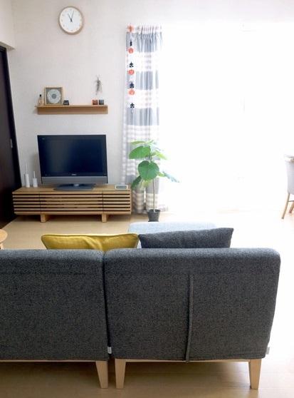 ニトリ・&Style・クッションカバー・ソファ・リビング全体・テレビ台①
