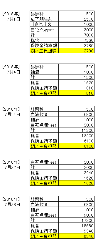 7月医療費
