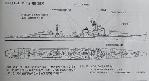 秋月1943年11月修理後