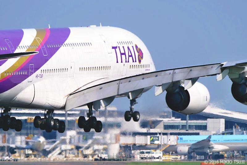 絶景探しの旅 - 0647 空気が揺らぐ 着陸寸前の巨大旅客機A380 (さくらの山公園/千葉県 成田市)