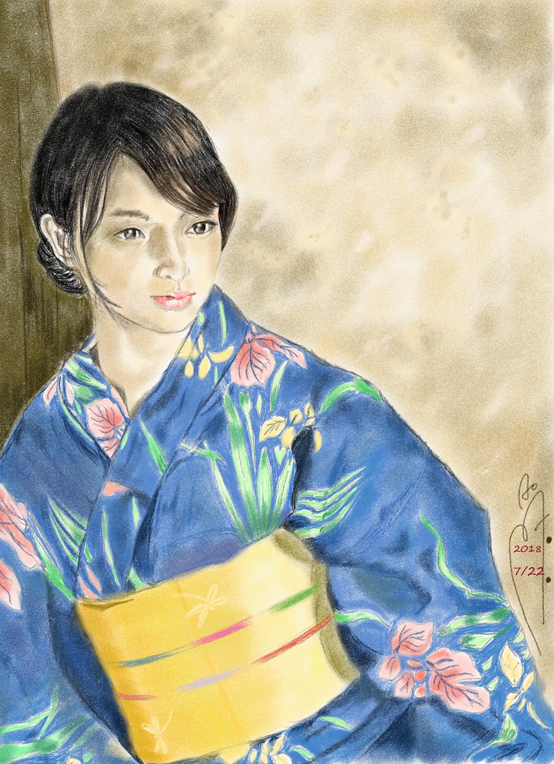 武井咲の浴衣姿似顔絵