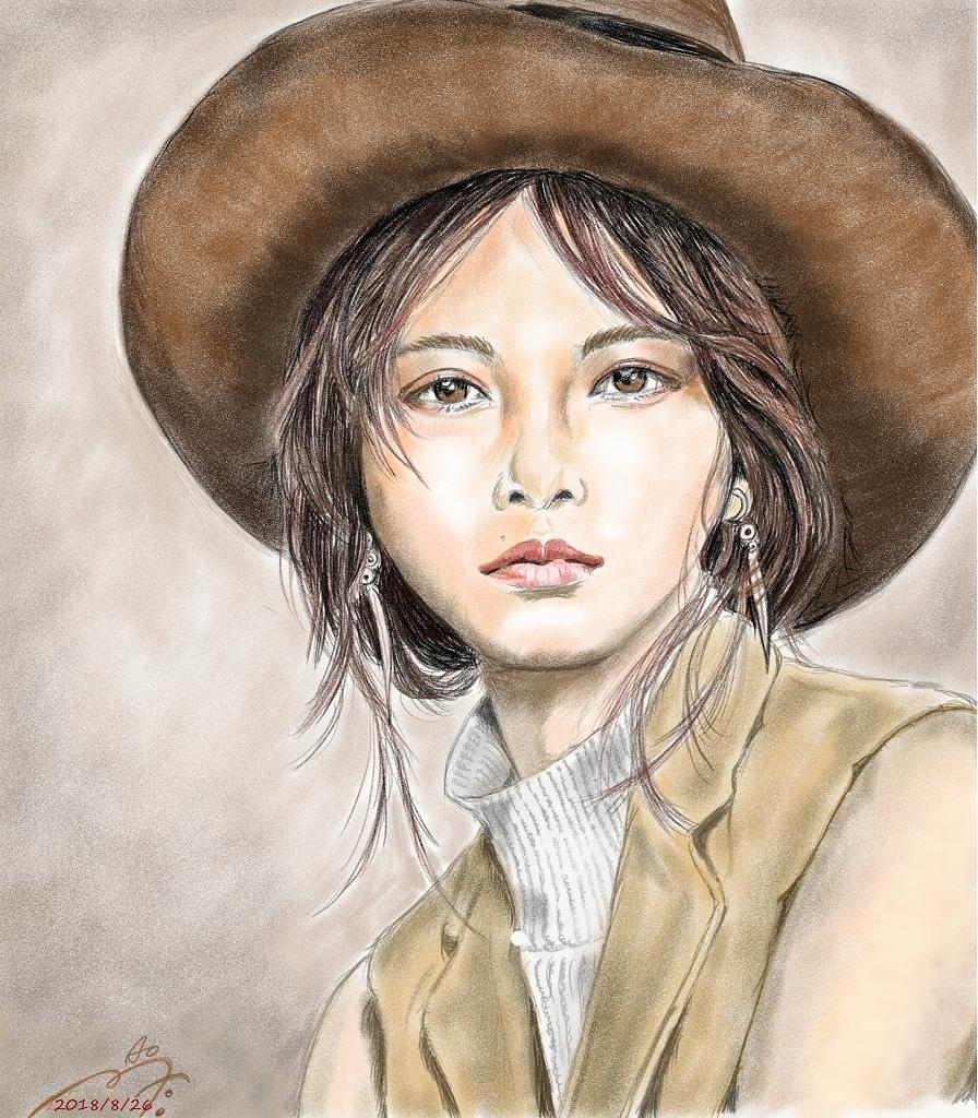 白石麻衣の似顔絵イラスト