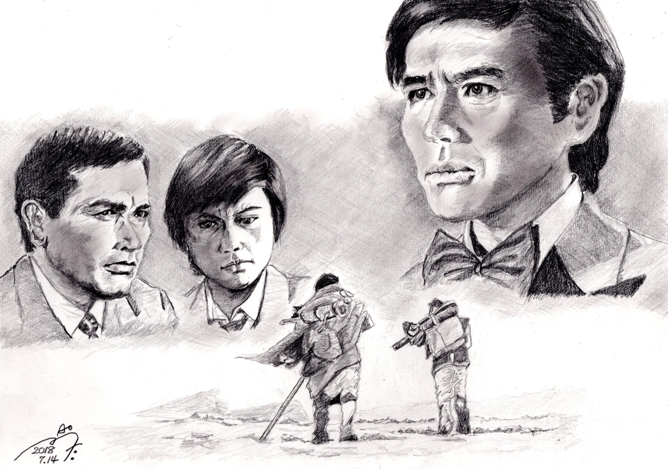 『砂の器』加藤剛、丹波哲郎、森田健作の鉛筆画似顔絵