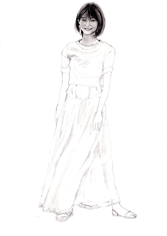 西野七瀬の鉛筆画似顔絵途中経過