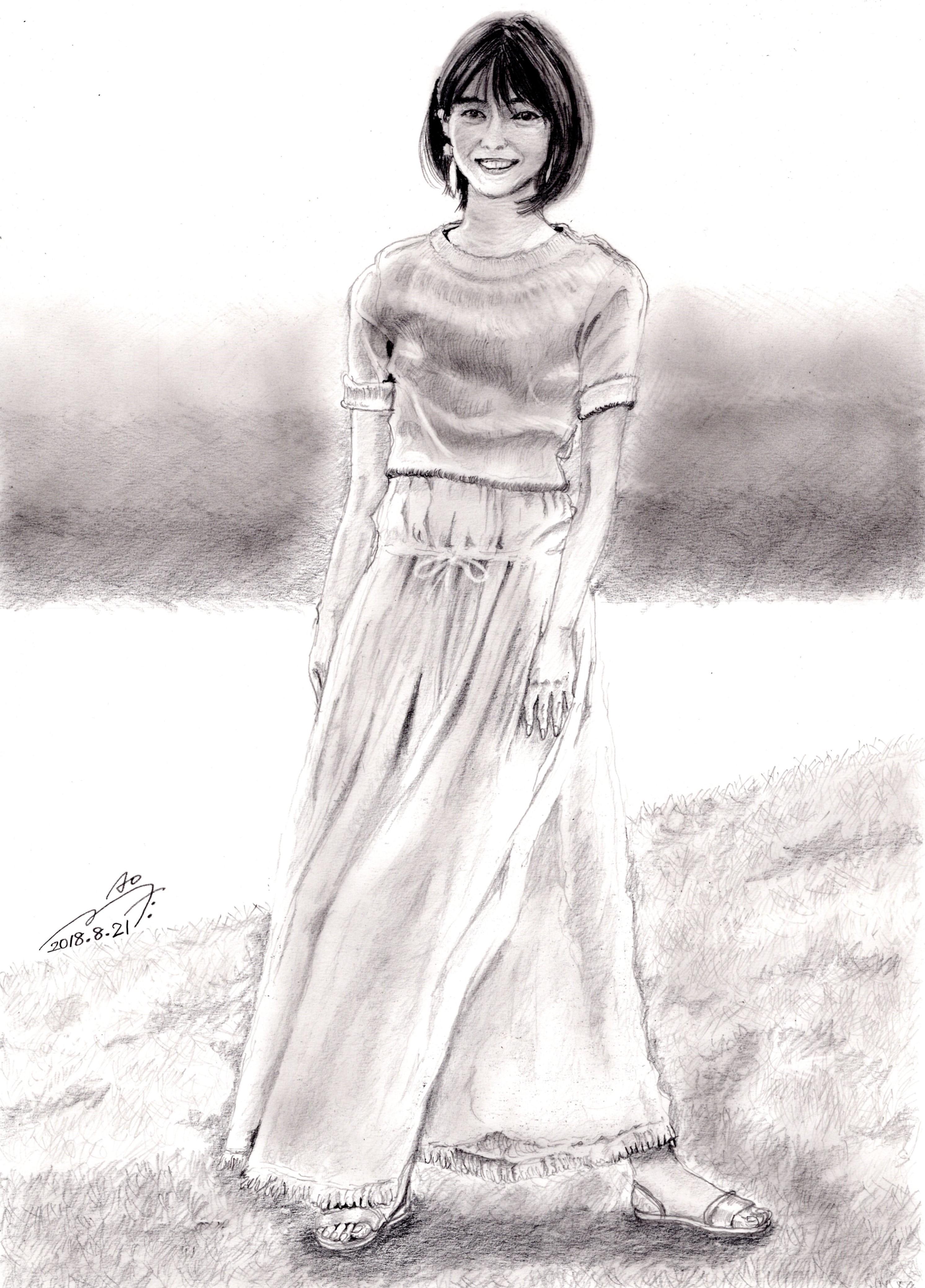 西野七瀬の鉛筆画似顔絵