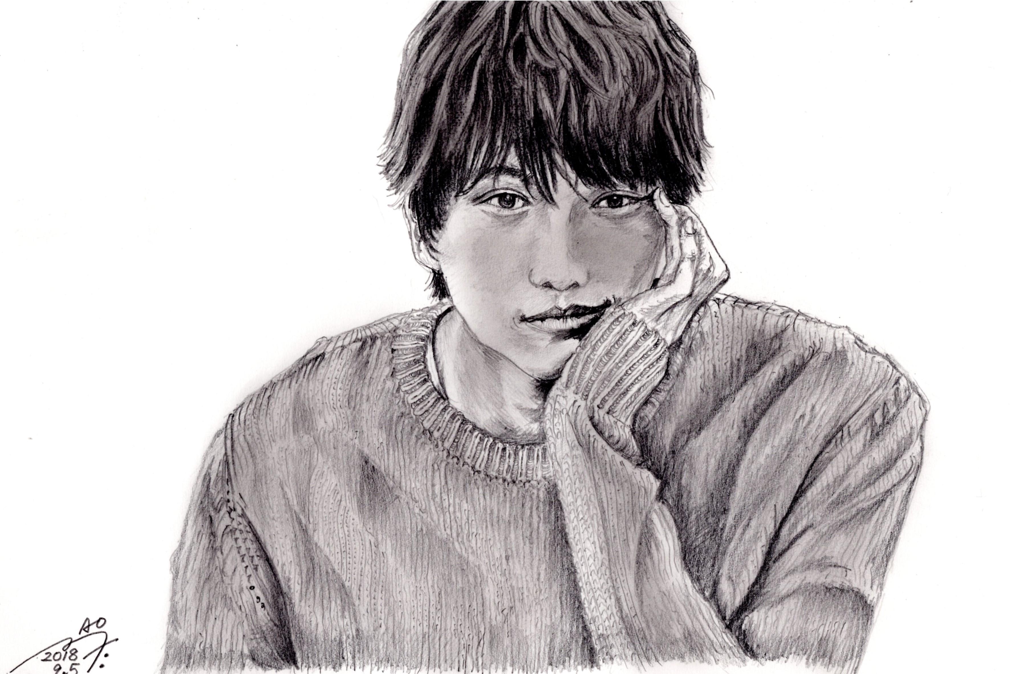 福士蒼汰の鉛筆画似顔絵